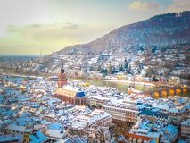 A panoramic aerial view of the old town of Heidelberg in Germany royalty free stock images