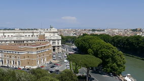 Panoramic aerial view of the old town of Rome, from roof of San Angelo castle. ROME, ITALY - MAY 31,2017:Panoramic aerial view of the old town of Rome from San stock video footage