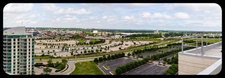 Panoramic aerial view of Omaha Nebraska convention center and Gallup University parking lots. Panoramic aerial view of Omaha Nebraska convention center stock images