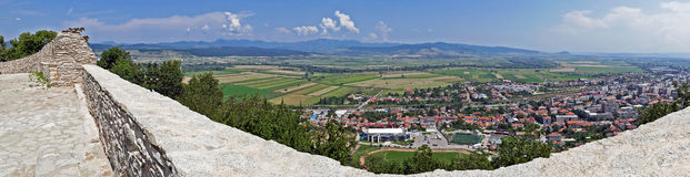 Panoramic and aerial view of one part at the city of Deva Royalty Free Stock Photo