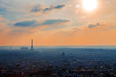 Panoramic aerial view at one sunset in Paris Stock Photography