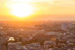 Panoramic aerial view over Berlin in romantic colorful sunset. Royalty Free Stock Photos
