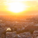 Panoramic aerial view over Berlin in romantic colorful sunset. Royalty Free Stock Photography