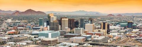 Panoramic aerial view over Downtown Phoenix, Arizona royalty free stock image