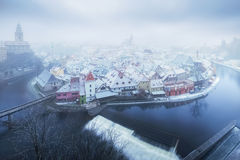 Panoramic aerial view over the old Town of Cesky Krumlov at the time of snowfall, Royalty Free Stock Photos