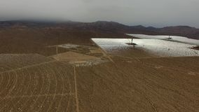 Panoramic aerial view over the solar batteries. Panoramic aerial view on the solar batteries and ambient environment stock video footage