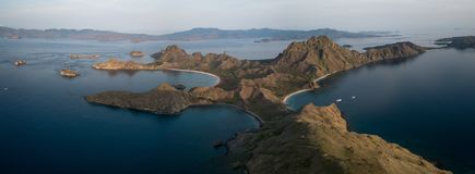 Panoramic aerial view of `Padar Island` in sunrise from Komodo Island, Komodo National Park, Labuan Bajo, Flores, Indonesia. in stock photos