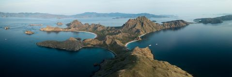 Panoramic aerial view of `Padar Island` in sunrise from Komodo Island, Komodo National Park, Labuan Bajo, Flores, Indonesia. in stock photography