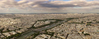 Panoramic aerial view on Paris and Seine river. Royalty Free Stock Images