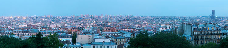 Panoramic aerial view on Paris at sunset Royalty Free Stock Photography