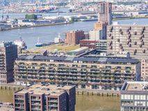 Panoramic aerial view of a part of Rotterdam royalty free stock photo