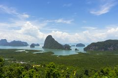 Panoramic aerial view of the Phang Nga bay in the Andaman sea, Thailand. Panoramic aerial view of the Phang Nga bay with mangrove tree forest and hills in the Royalty Free Stock Images
