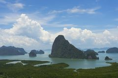 Panoramic aerial view of the Phang Nga bay in the Andaman sea, Thailand Royalty Free Stock Photography