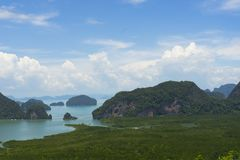 Panoramic aerial view of the Phang Nga bay in the Andaman sea, Thailand Royalty Free Stock Image