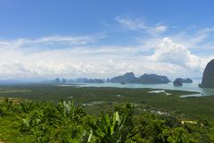 Panoramic aerial view of the Phang Nga bay in the Andaman sea, Thailand Royalty Free Stock Photos