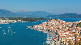 Timelapse of aerial view on Poros, Greece stock video