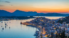 Timelapse of aerial view on Poros, Greece at sunset stock video footage