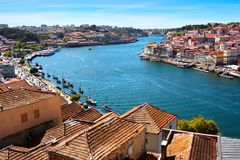 Panoramic aerial view of Porto in a beautiful summer day, Portugal stock photos