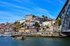 Panoramic aerial view of Porto in a beautiful summer day, Portugal stock photography