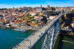 Panoramic aerial view of Porto in a beautiful summer day, Portugal stock photo