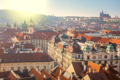 Panoramic Aerial view of Prague city with red rooftops Royalty Free Stock Photos