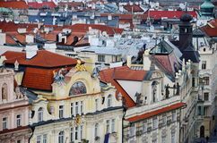 Panoramic aerial view of Prague from the Prague Castle, Czech Republic. Old  historical buildings and church Stock Photography