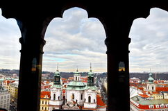 Panoramic aerial view of Prague from the Prague Castle, Czech Republic. Old  historical buildings and church Royalty Free Stock Photo