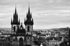 Panoramic aerial view of Prague from the Prague Castle, Czech Republic. Old  historical buildings and church, black and white image  in Prague Royalty Free Stock Image