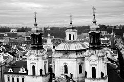 Panoramic aerial view of Prague from the Prague Castle, Czech Republic. Old  historical buildings and church, black and white image  in Prague Royalty Free Stock Photo