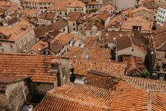 Panoramic aerial view of the red tiled roofs of the old town of Kotor stock photos