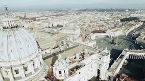 Panoramic aerial view of Rome and Saint Peter s Square, Vatican, Italy. Stock. View from the cupola of Vatican Saint. Panoramic aerial view of Rome and Saint stock footage