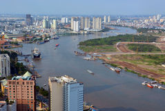 Panoramic aerial View of Saigon River and City in The Afternoon. stock photography