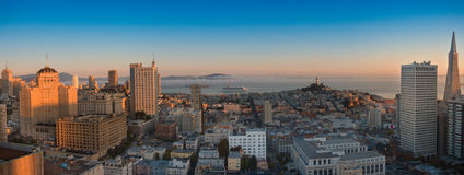 Panoramic aerial view  San Francisco and bay area Royalty Free Stock Image