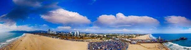 Panoramic aerial view of Santa Monica Beach at sunset, CA.  Royalty Free Stock Photo