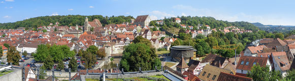 Panoramic aerial view of Schwäbisch Hall stock image