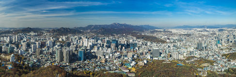Panoramic aerial view of Seoul South Korea Skyline Asia - view from Seoul Tower hilltop - NOVEMBER 2013 stock images
