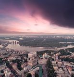 Sofievskaya Square and St. Sophia Cathedral in Kiev, Ukraine. Panoramic Aerial view of Sofievskaya Square and St. Sophia Cathedral and the Dnieper River in the royalty free stock photography