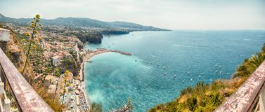Panoramic aerial view of Sorrento, Italy, during summertime. Panoramic aerial view of Sorrento, Neapolitan Riviera, Italy, during summertime Stock Photography