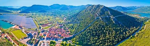 Panoramic aerial view of Ston historic walls and Peljesac penins. Ula, Dalmaria region of Croatia Royalty Free Stock Images