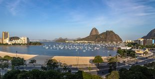 Panoramic aerial view of Sugar Loaf and Botafogo beach at Guanabara Bay - Rio de Janeiro, Brazil. Panoramic aerial view of Sugar Loaf and Botafogo beach at stock photos