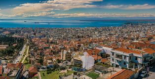 Panoramic Aerial View of Thessaloniki city Royalty Free Stock Photo