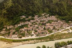Panoramic aerial view to Berat old town and Osum river from Berat Castle , Albania. Panoramic aerial view to Berat old town and Osum river from Berat Castle in royalty free stock photos