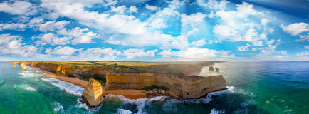 Panoramic aerial view of Twelve Apostles coastline at sunset, Gr Stock Image