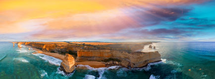 Panoramic aerial view of Twelve Apostles coastline at sunset, Gr Royalty Free Stock Photo