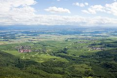 Panoramic aerial view the Upper Rhine plain in Alsace, France. View of the plain from the mountain on which the Haut-Koenigsbourg castle is located stock image
