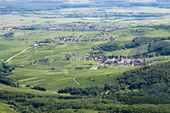 Panoramic aerial view the Upper Rhine plain in Alsace, France Stock Photography