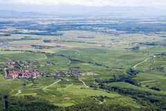 Panoramic aerial view the Upper Rhine plain in Alsace, France Stock Images