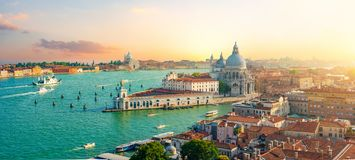San Marco Campanile. Panoramic aerial view of Venice from San Marco Campanile stock images