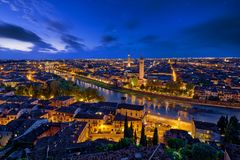 Panoramic aerial view of Verona, Italy at blue hour, after summe. R sunset royalty free stock images