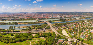Panoramic Aerial View Of Vienna City Skyline, Handelskai office district. Aerial View Of Vienna City Skyline, Handelskai office district, view from Danube tower Royalty Free Stock Images